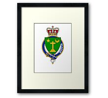Coat of arms (family crest) for last-name or surname McAdam (Ireland) . Heraldry banner for your name. Framed Print