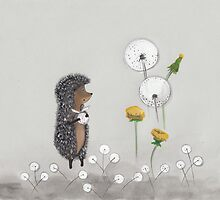 Nursery art - Hedgehog in the Fog by Marikohandemade