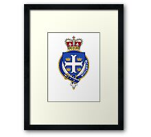 Coat of arms (family crest) for last-name or surname McArthur (Scotland) . Heraldry banner for your name. Framed Print