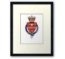 Coat of arms (family crest) for last-name or surname McAuley (Scotland . Heraldry banner for your name. Framed Print