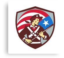 American Patriot Holding Brandish USA Flag Crest Retro Canvas Print