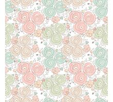 Floral seamless pattern with blooming roses Photographic Print