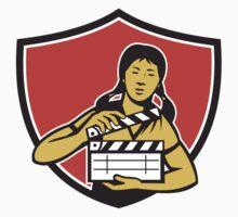 Asian Woman Movie Clapper Shield Retro by patrimonio