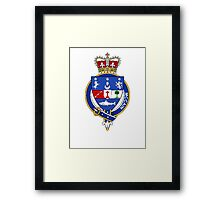 Coat of arms (family crest) for last-name or surname McCain or Keane (Ireland) . Heraldry banner for your name. Framed Print