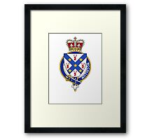 Coat of arms (family crest) for last-name or surname McCallum or Malcolm (Scotland) . Heraldry banner for your name. Framed Print