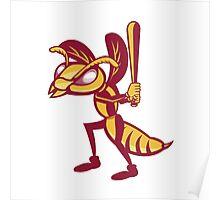 Hornet Baseball Player Batting Isolated Retro Poster
