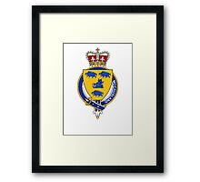 Coat of arms (family crest) for last-name or surname McCausland (Ireland) . Heraldry banner for your name. Framed Print