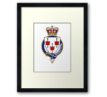 Coat of arms (family crest) for last-name or surname McClendon or McAlindon (Ireland) . Heraldry banner for your name. Framed Print
