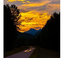 Walking in the golden Morning sunrise  Photographic Print