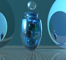 Aquamarine Fandango with Marbles Still Life by Sazzart