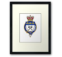 Coat of arms (family crest) for last-name or surname McCord or McCourt (Ireland) . Heraldry banner for your name. Framed Print