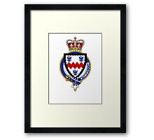 Coat of arms (family crest) for last-name or surname McCormick (Ireland) . Heraldry banner for your name. Framed Print