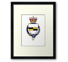 Coat of arms (family crest) for last-name or surname McCrery (Scotland) . Heraldry banner for your name. Framed Print