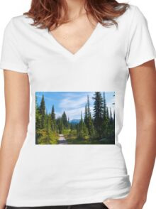 MT Revelstoke BC  Women's Fitted V-Neck T-Shirt