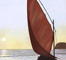 A Red Sail Sunset by Kate Eller