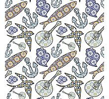 Collection of traditional Portuguese icons in seamless pattern Photographic Print