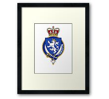 Coat of arms (family crest) for last-name or surname McDowall (Scotland) . Heraldry banner for your name. Framed Print
