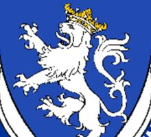 Coat of arms (family crest) for last-name or surname McDowall (Scotland) . Heraldry banner for your name. Sticker