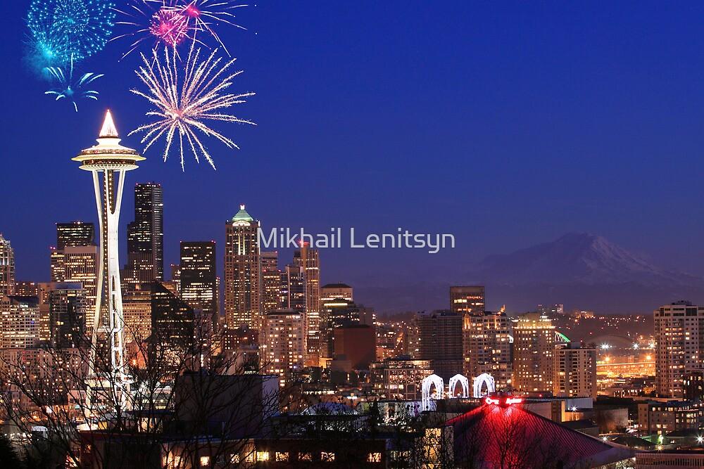 Fireworks in Seattle by Mikhail Lenitsyn