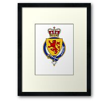 Coat of arms (family crest) for last-name or surname McDuff (Scotland) . Heraldry banner for your name. Framed Print