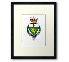 Coat of arms (family crest) for last-name or surname McGinnis or McGenis (Ireland) . Heraldry banner for your name. Framed Print