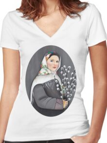 Palm Sunday Women's Fitted V-Neck T-Shirt