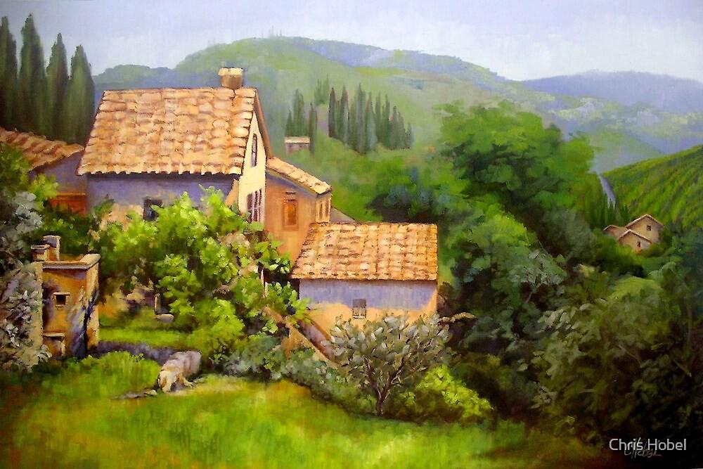 Large Tuscan Landscape Oil Painting by Chris Hobel