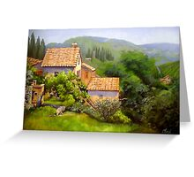Large Tuscan Landscape Oil Painting Greeting Card