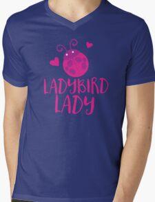Ladybird (Ladybug) Lady pink Mens V-Neck T-Shirt