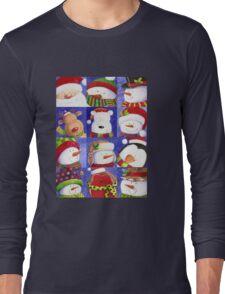 Cute Christmas gang - Santa, Snowman, Penguin, Polar Bear Long Sleeve T-Shirt