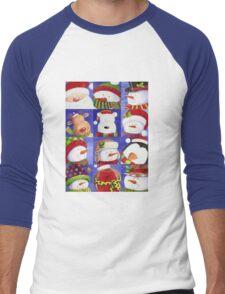 Cute Christmas gang - Santa, Snowman, Penguin, Polar Bear Men's Baseball ¾ T-Shirt