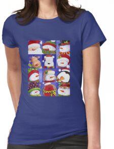 Cute Christmas gang - Santa, Snowman, Penguin, Polar Bear Womens Fitted T-Shirt