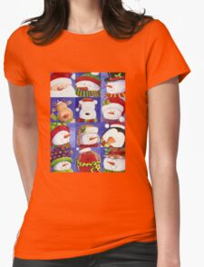 Cute Christmas gang - Santa, Snowman, Penguin, Polar Bear Womens Fitted T-Shirt