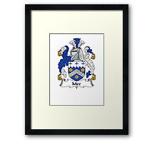 Coat of arms (family crest) for last-name or surname Mee . Heraldry banner for your name. Framed Print