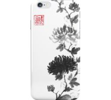 Flower scroll of light and shadow sumi-e painting iPhone Case/Skin