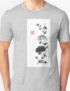 Flower scroll of light and shadow sumi-e painting T-Shirt