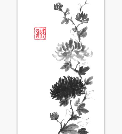 Flower scroll of light and shadow sumi-e painting Sticker