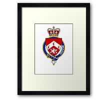 Coat of arms (family crest) for last-name or surname Meehan or O'Meehan (Ireland) . Heraldry banner for your name. Framed Print