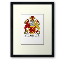 Coat of arms (family crest) for last-name or surname Mell . Heraldry banner for your name. Framed Print