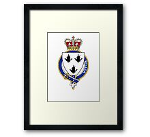 Coat of arms (family crest) for last-name or surname Mellor (England) . Heraldry banner for your name. Framed Print