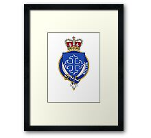 Coat of arms (family crest) for last-name or surname Melton (England) . Heraldry banner for your name. Framed Print