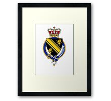 Coat of arms (family crest) for last-name or surname Merchant (England) . Heraldry banner for your name. Framed Print