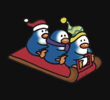 3 winter penguins on a sledge Kids Tee