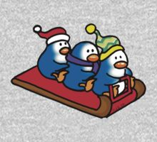 3 winter penguins on a sledge One Piece - Long Sleeve