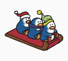 3 winter penguins on a sledge One Piece - Short Sleeve