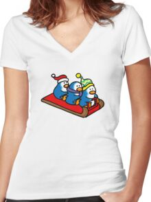 3 winter penguins on a sledge Women's Fitted V-Neck T-Shirt