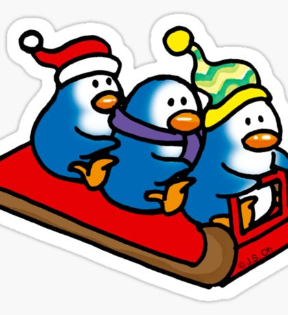 3 winter penguins on a sledge Sticker