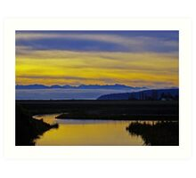sunset over the olympics Art Print