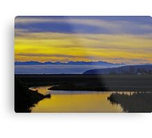 sunset over the olympics Metal Print