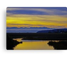 sunset over the olympics Canvas Print